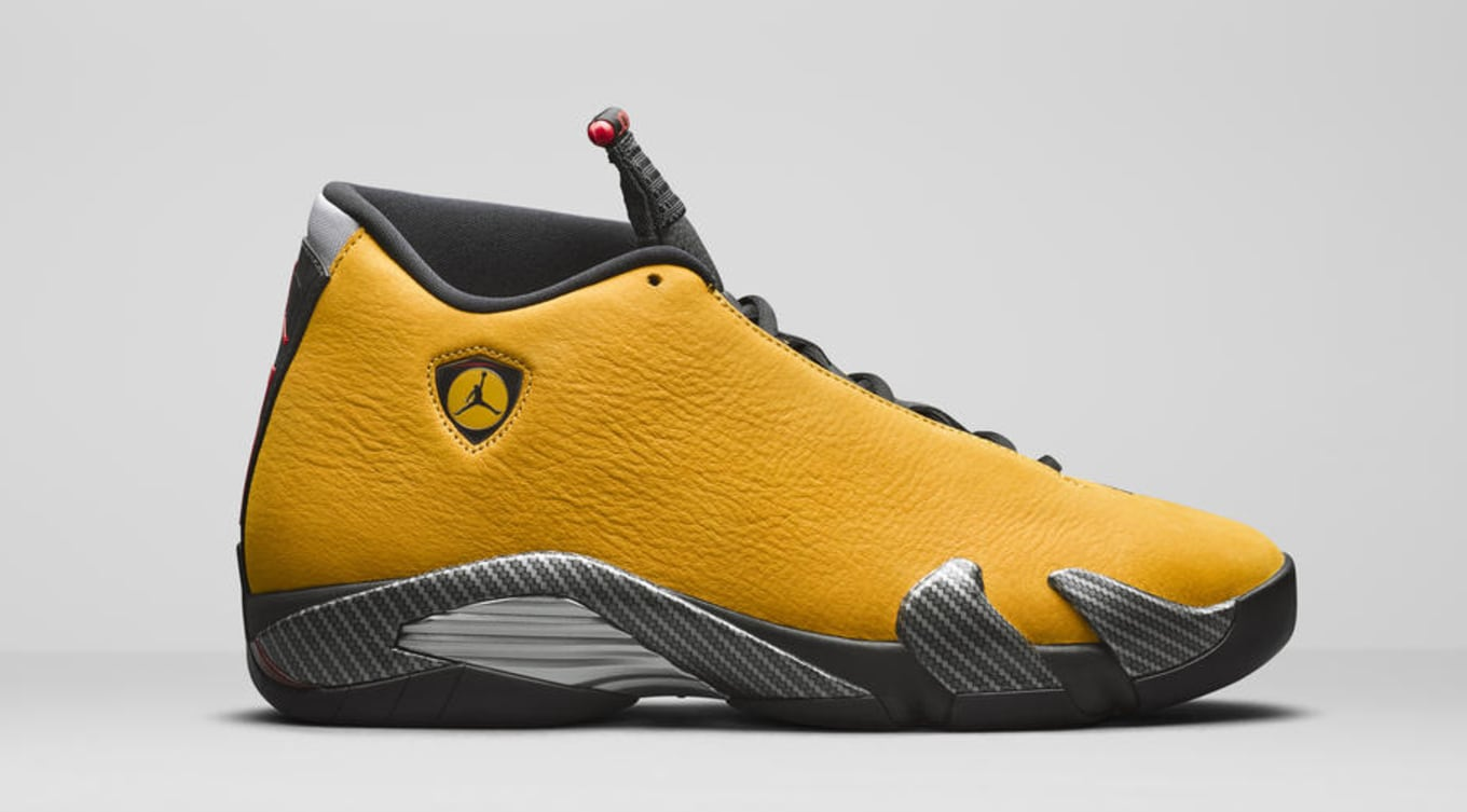 ba9387b651bd5 Another  Ferrari  Air Jordan 14 Is Releasing This Summer. The sports car  theme returns in University Gold.