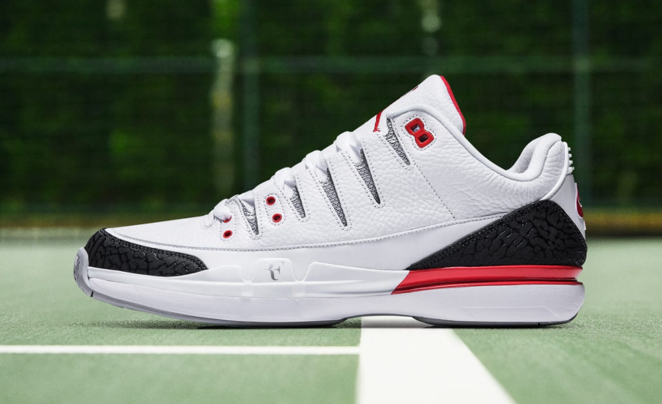 5e024e4045088 Roger Federer Nike Zoom Vapor Air Jordan 3 Fire Red Black Jade ...