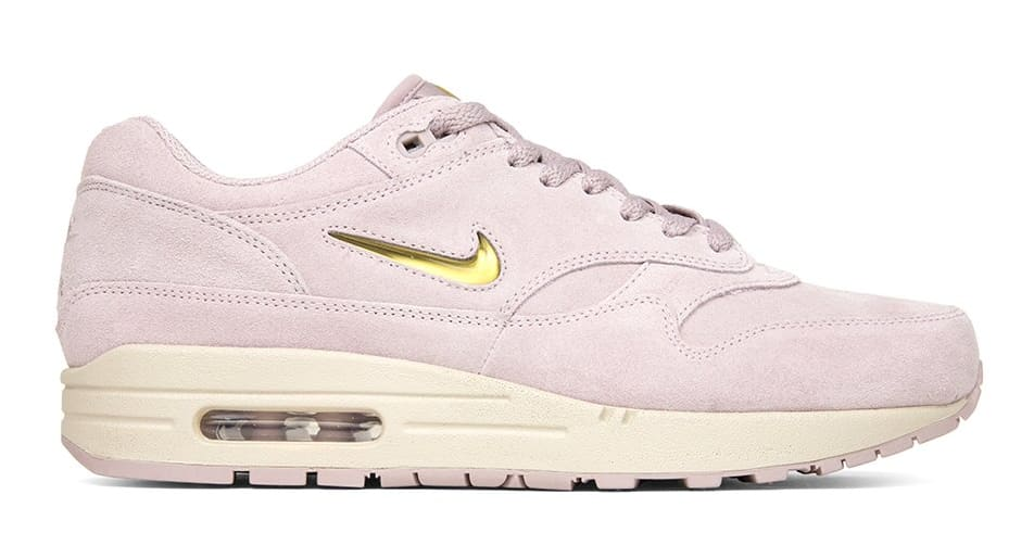 outlet store e7c10 b1333 ... low cost nike air max 1s covered in pink suede. complete with a gold  jewel