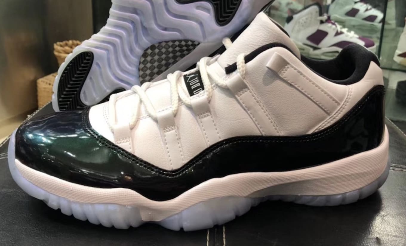 a2f90d564380 Air Jordan 11 Low  Easter  White Emerald Rise-Black Release Date ...