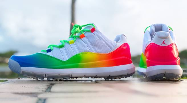 99d90c42e10c13 Ray Allen s  Rainbow  Air Jordan 11 Golf Shoes Are Insane