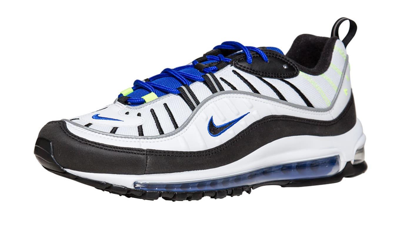 purchase cheap ec741 70943 Nike Air Max 98 White Black-Racer Blue-Volt. Image via Jimmy Jazz