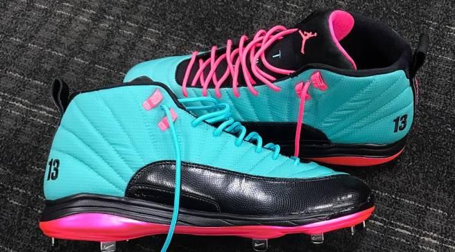874f8f935232 MLB s Jordan Athletes Receive Custom Air Jordan 12 Cleats for Players  Weekend