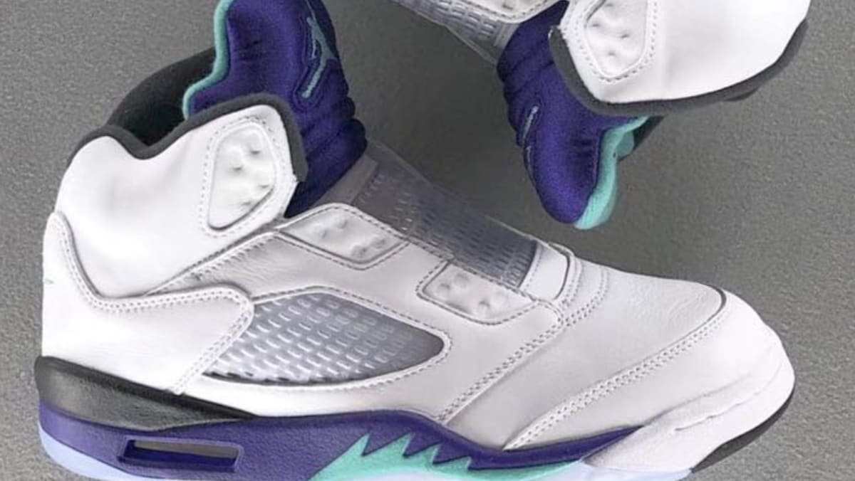f408a9fb19d2 Air Jordan V 5 Retro NRG  White Grape Ice Black New Emerald  2018 Release  Date