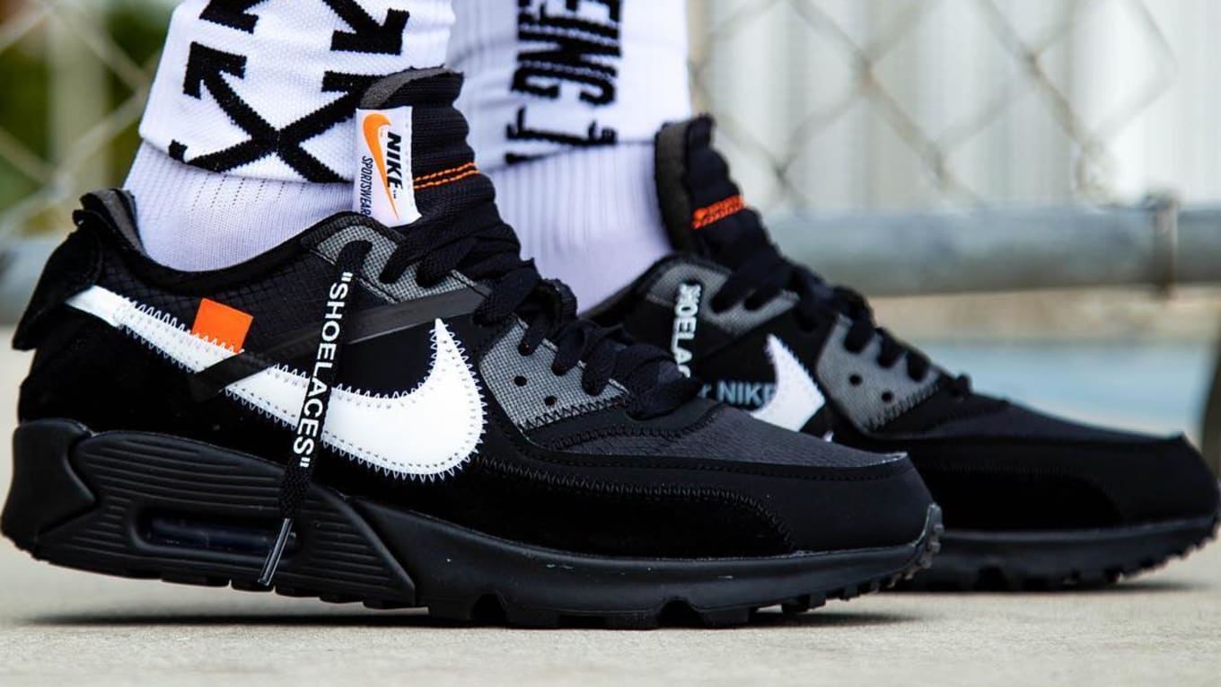 2019 Off White x Nike Air Max 90 Black Cone White AA7293 001