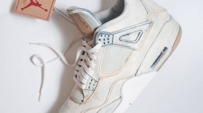 What the Levi s x Air Jordan 4 Looks Like with Bleached Denim a2fbd6fb8