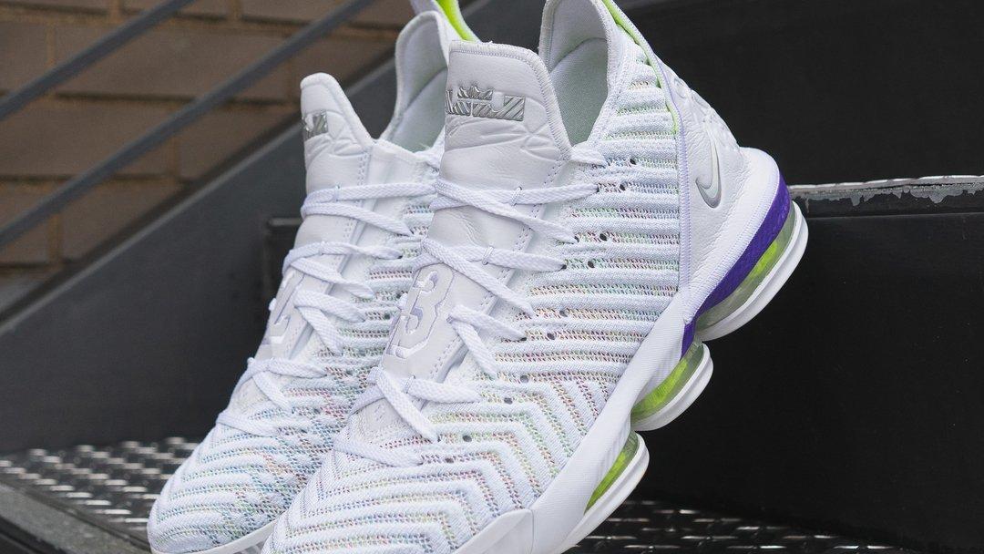 1f47677e5b Nike LeBron 16 White Multicolor-Hyper Grape-Volt AO2588-102 Release Date