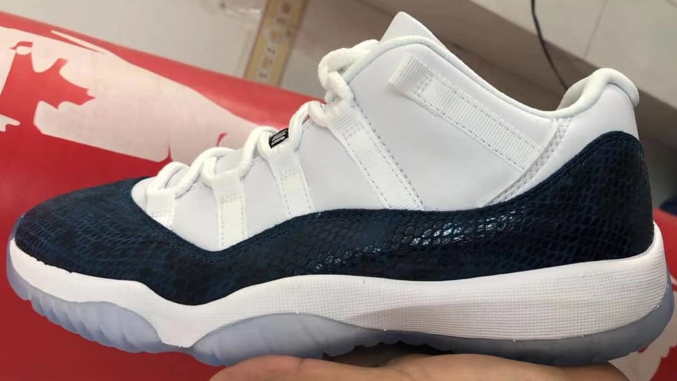 buy online 5ae91 1e640 First Look at 2019s Blue Snakeskin Air Jordan 11 Low Retro