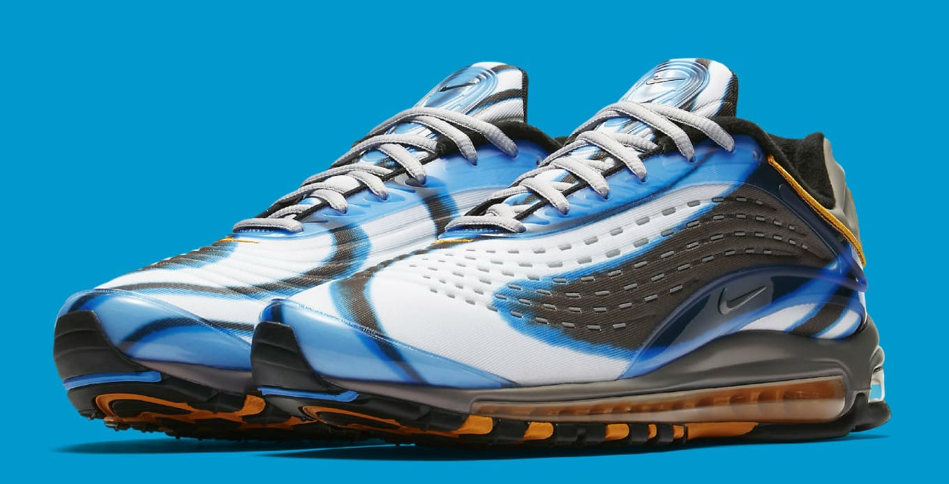 de3d61d9ab50 Nike Air Max Deluxe Photo Blue Wolf Grey Orange Peel Black Release ...