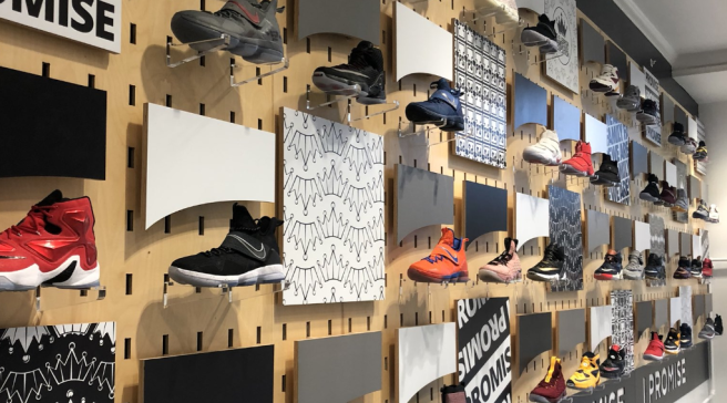 best cheap 8a5e6 efb3a LeBron James  Sneakers Cover the Walls of His New School