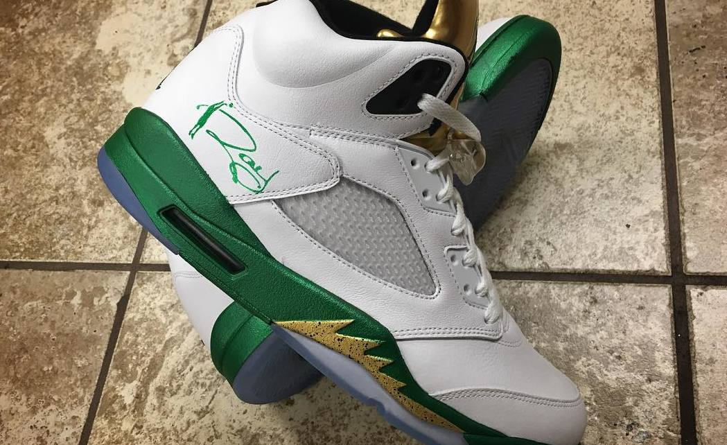 the latest bf672 5507d Ray Allen Air Jordan 5 Gold Custom by Mache   Sole Collector