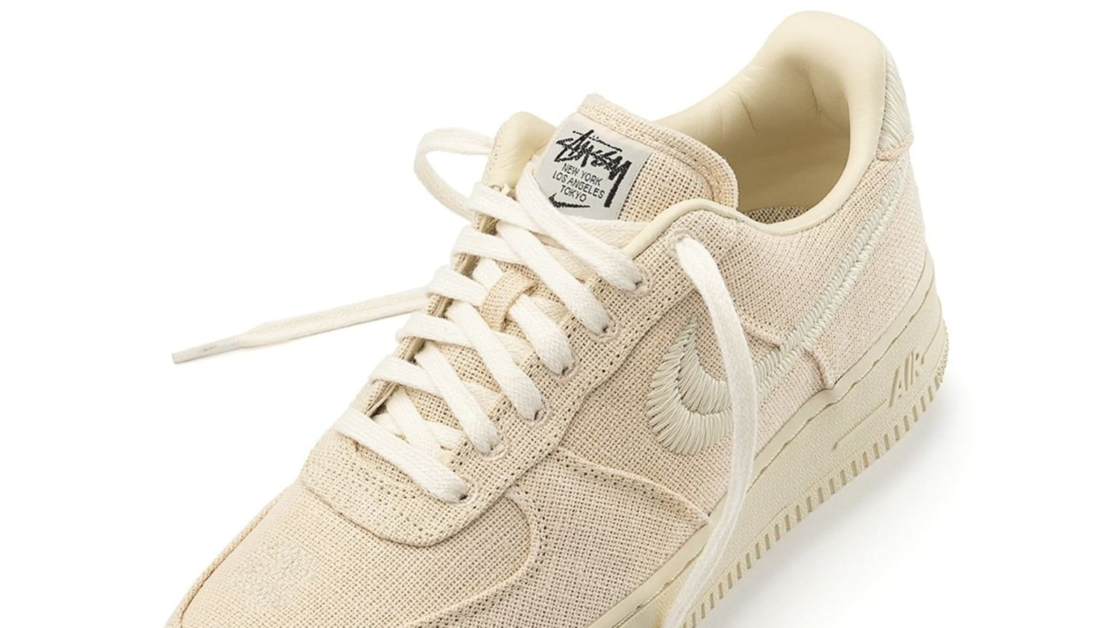 stussy nike air force 1 low fossil stone front