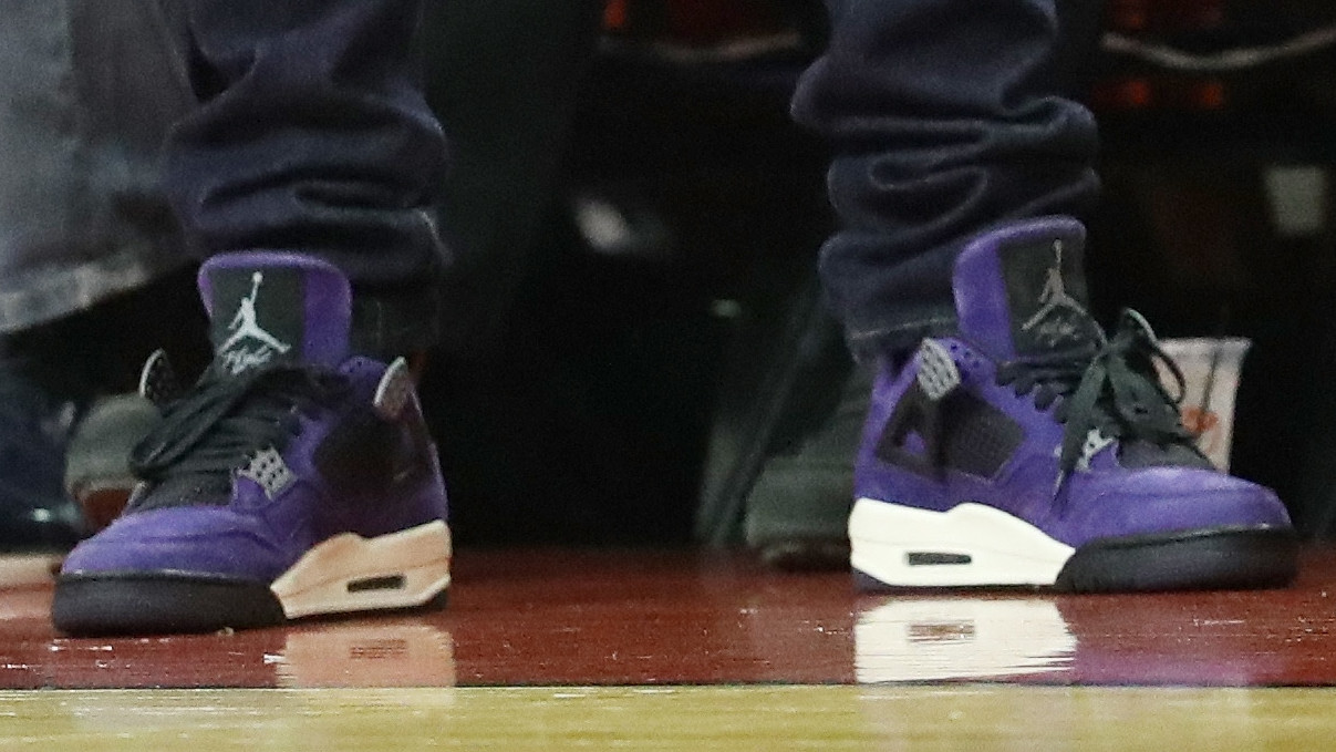 online retailer 08c4d 499ed Travis Scott Debuts Unreleased Air Jordan 4 in Purple | Sole ...