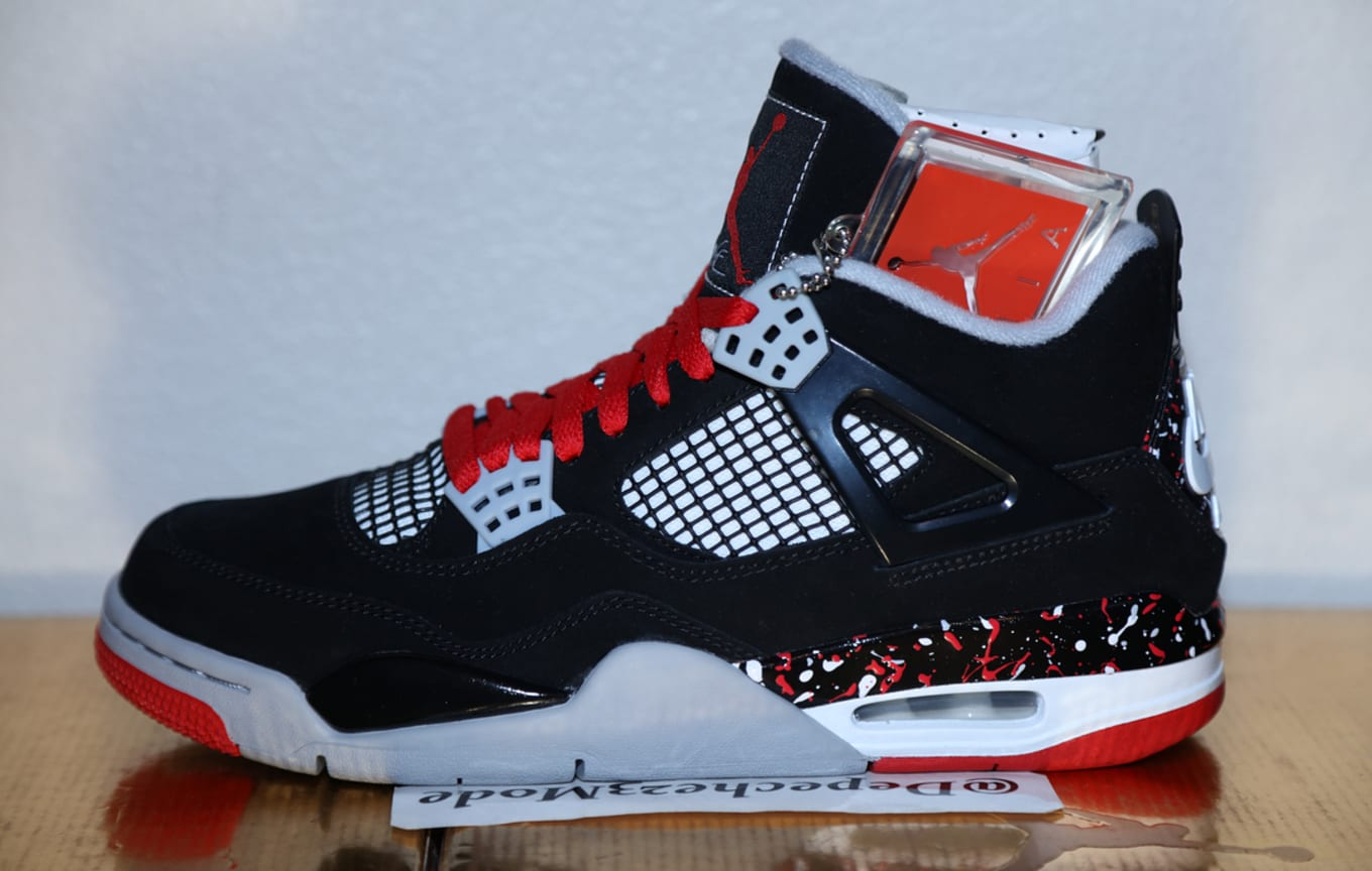7733b856fe6 Best Look Yet at Drake s OVO Air Jordan 4 Retro  Splatter  aka ...