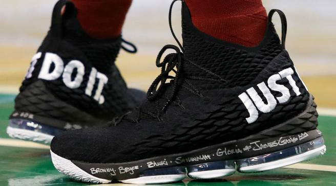 880ce2840d1cb  SoleWatch  LeBron James Wears  Just Do It  Nike LeBron 15 in Game 1