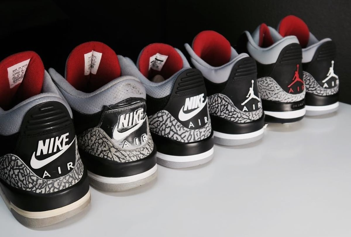 online retailer ad869 3ace8 Air Jordan 3 III Black Cement Retro Comparison 2001 2018   Sole Collector