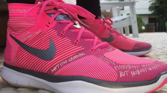 5885ede83e43 Kevin Hart s Sneakers Were Made in Pink for Breast Cancer Awareness