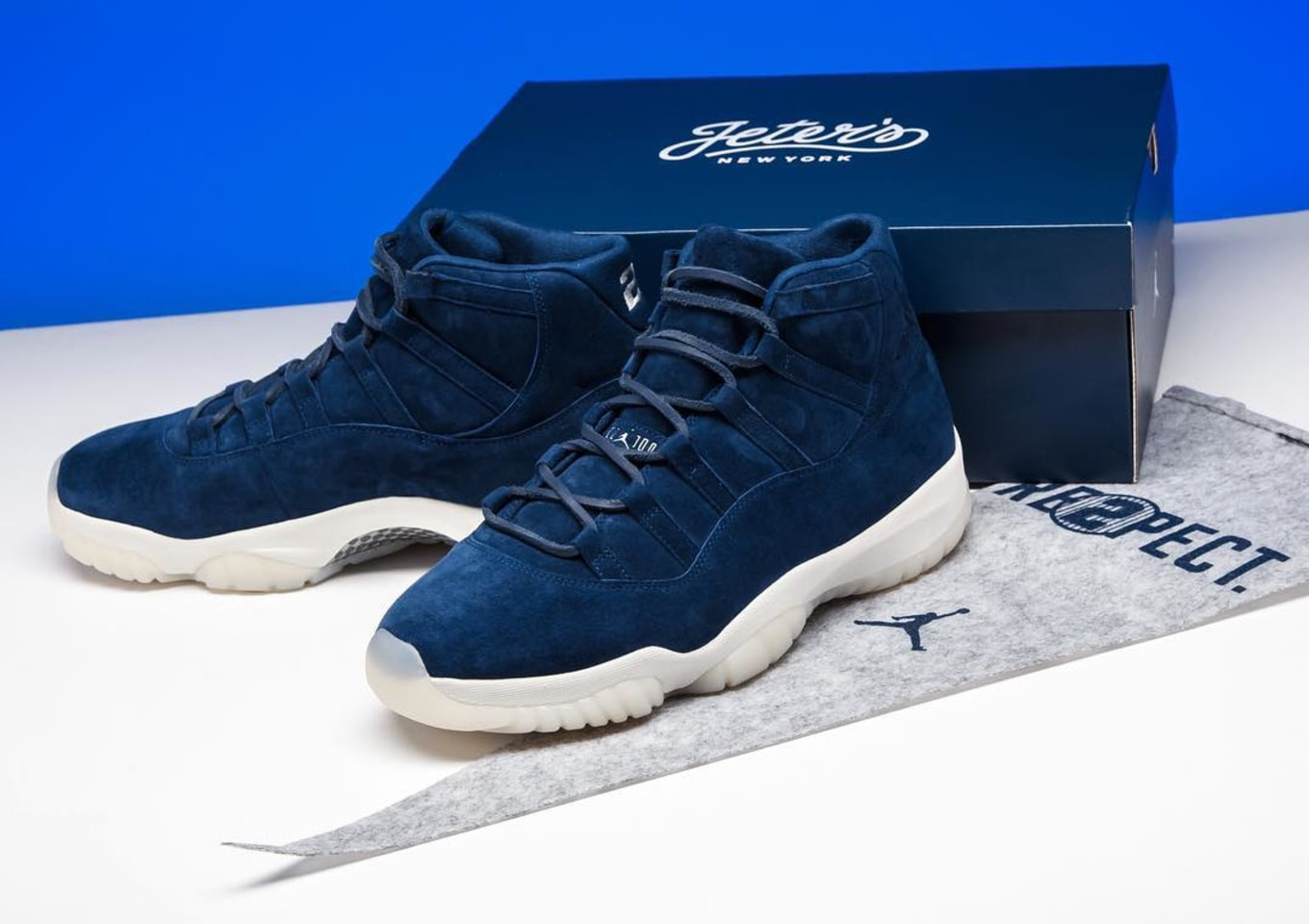 41e803724b3 Derek Jeter Air Jordan 11 XI Navy Blue Suede $40,000 | Sole Collector