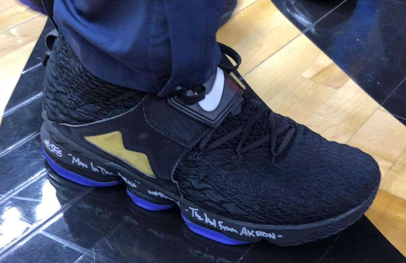 LeBron James Wears Nike LeBron 15  Diamond Turf  in Black Purple ... 38e3c5287c