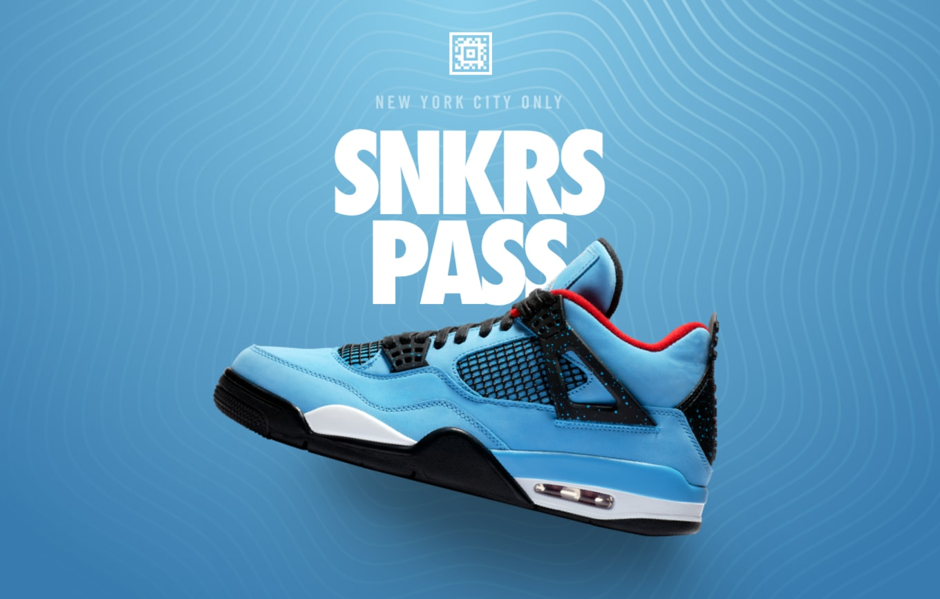 9713acd0aff Travis Scott x Air Jordan 4 Available Early Nike SNKRS Pass New York ...