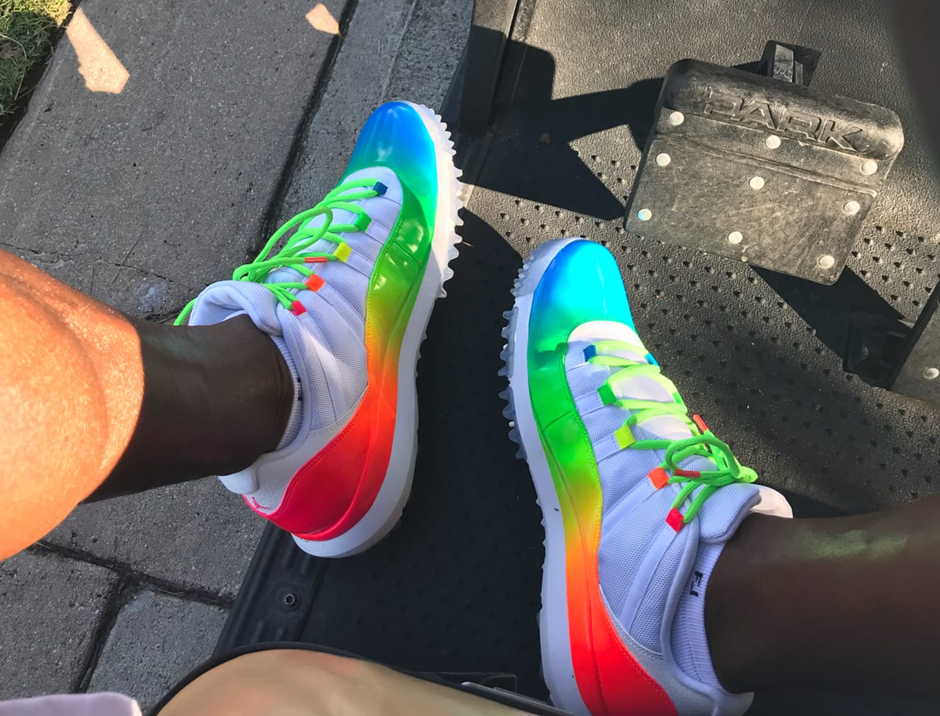 1be0b98f8657 Ray Allen s  Rainbow  Air Jordan 11 Golf Shoes Are Insane. Ray brings the  heat for celebrity golf tournament.