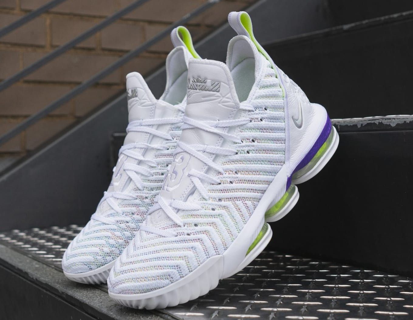 8c2d57e37a2 Nike LeBron 16 White Multicolor-Hyper Grape-Volt AO2588-102 Release ...