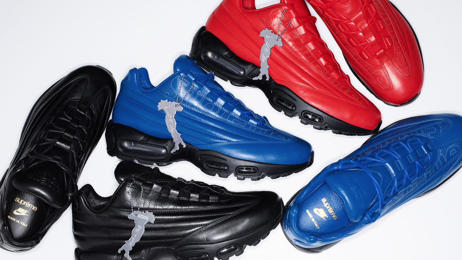 Supreme X Nike Air Max 95 Lux 'Red' 'Blue' 'Black' Release Date