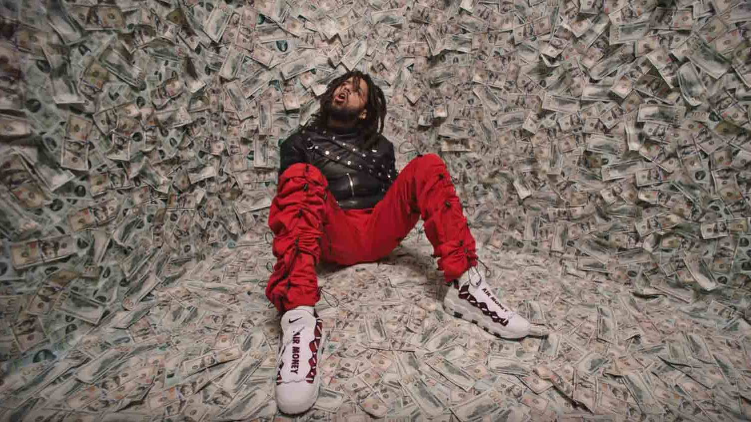 8990729bb447f5 J. Cole  ATM  Music Video Nike Air More Money Sneakers