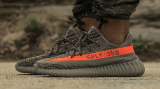 Adidas Yeezy Boost 350 V2 Red Stripe Core Black By Kanye In Size