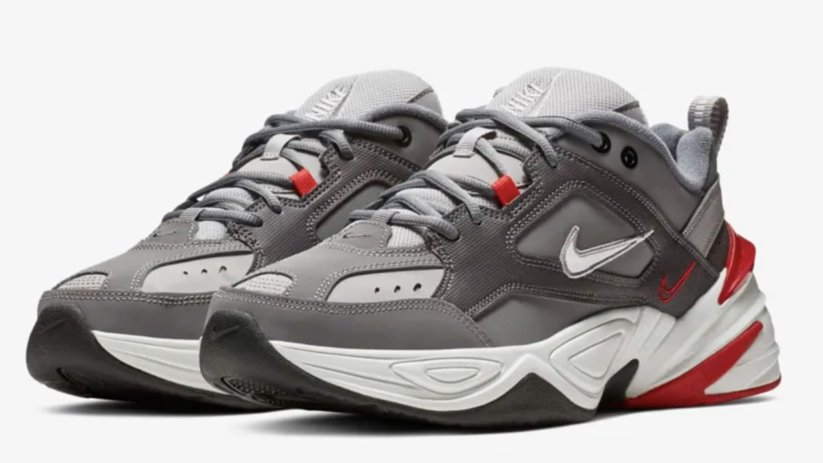 Nike M2k Tekno Gunsmoke Natural Heather University Red