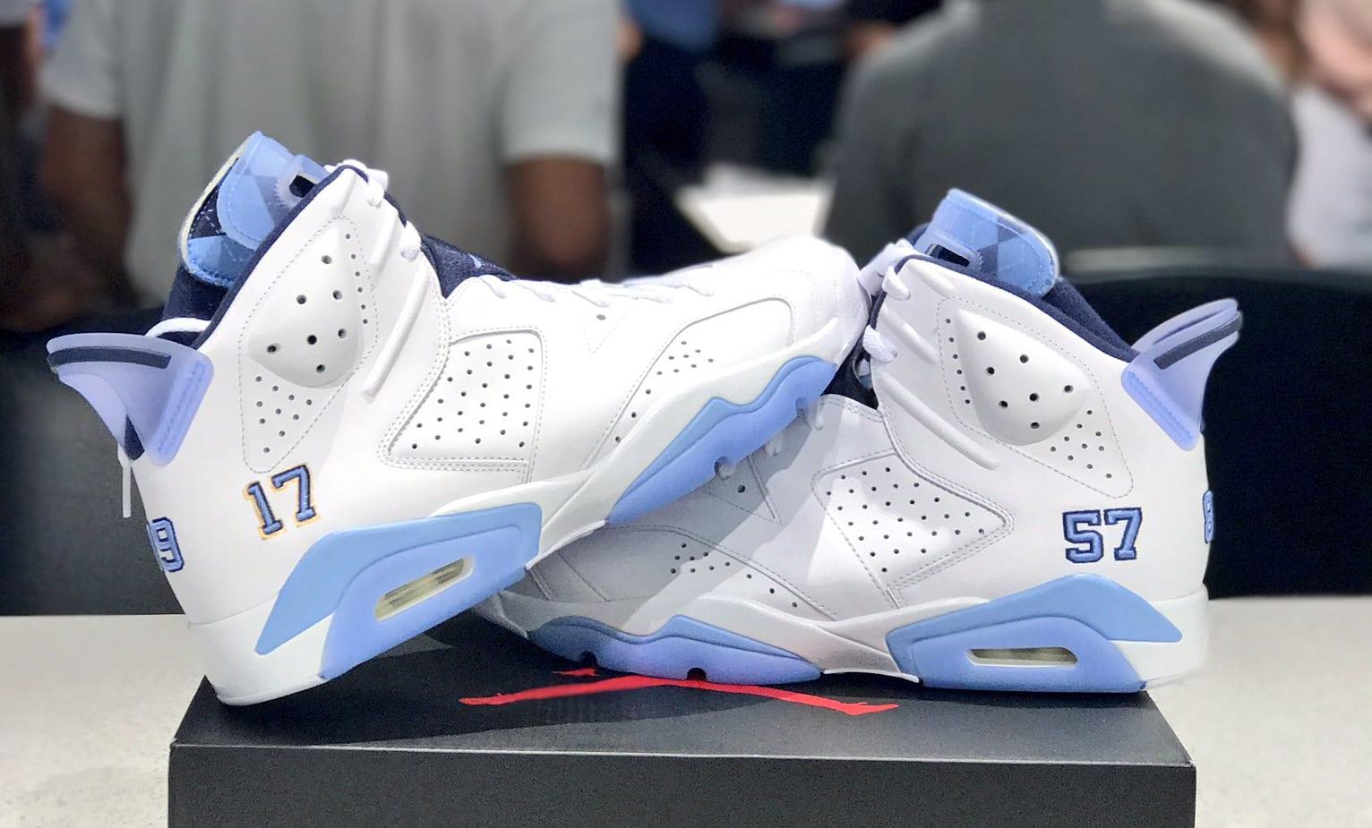 New Men Air Jordan 6 UNC PE All Blue Shoes