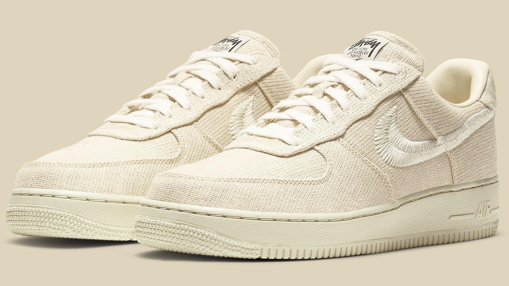 Stussy x Nike Air Force 1 Low 'Black' 'Fossil Stone' Release Date ...