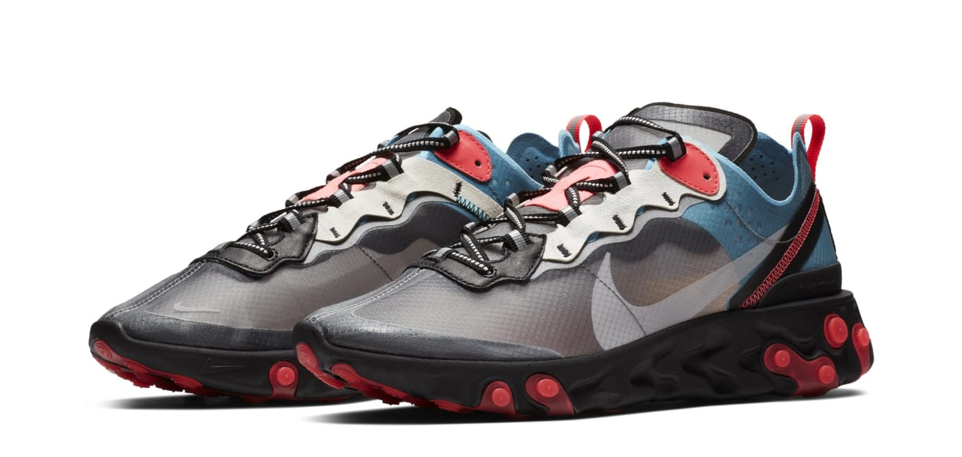 01d4486c23b9 Nike React Element 87  Black Cool Grey Blue Chill Solar Red  AQ1090 ...