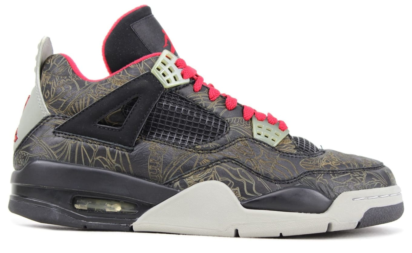 91abe106bef3d1 Air Jordan 4 Retro Laser NRG  Noble Green Black Gym Red  Release ...