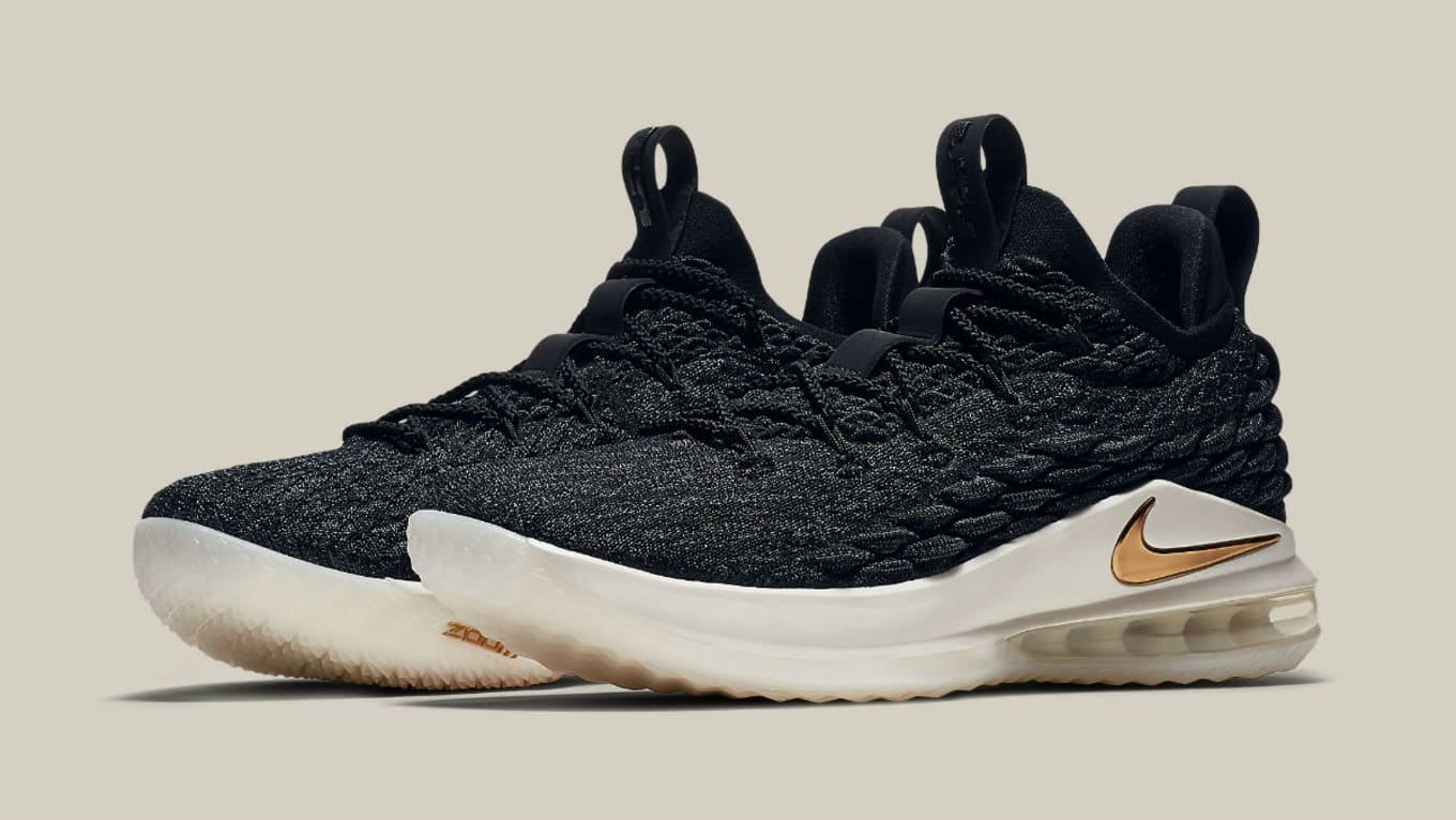 912bcd5b5ee3f Nike LeBron 15 Lows Fit for a King. Black and metallic gold link up on the  next release.