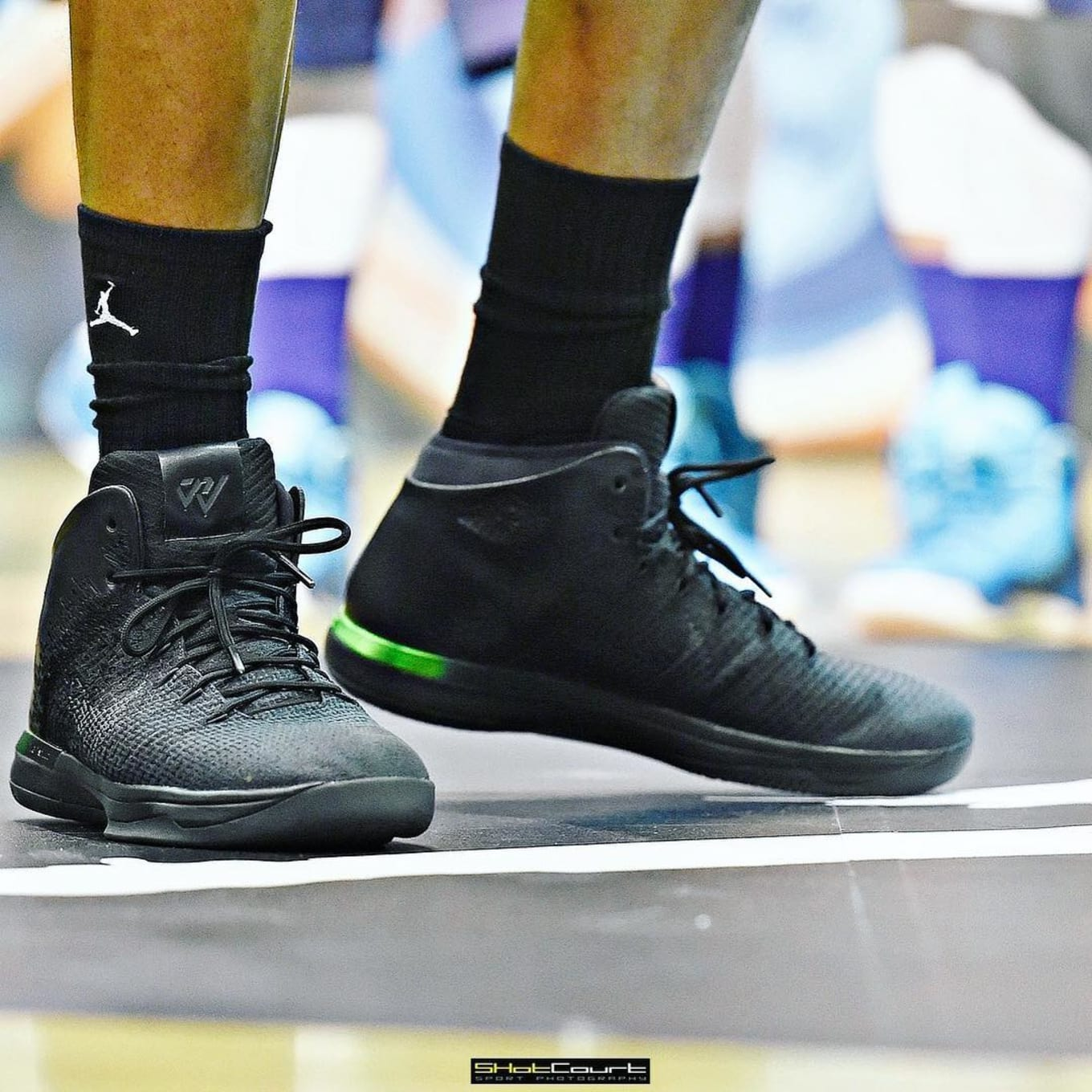 18f7cc25c2e Russell Westbrook Debuts New Air Jordan 31. Black and green colorway  spotted in Beijing.