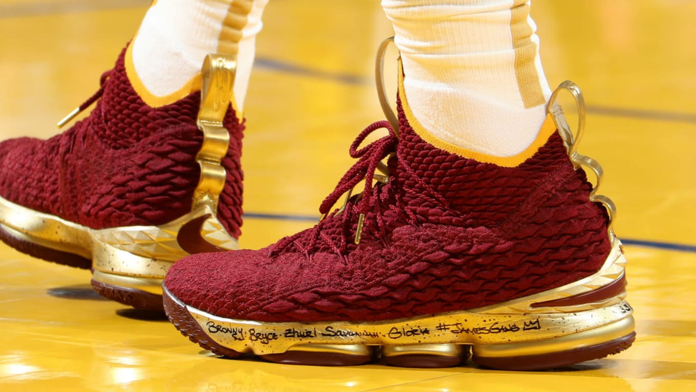 22a4b241be83 LeBron James Nike LeBron 15 Burgundy Gold NBA Finals Game 2 PE ...