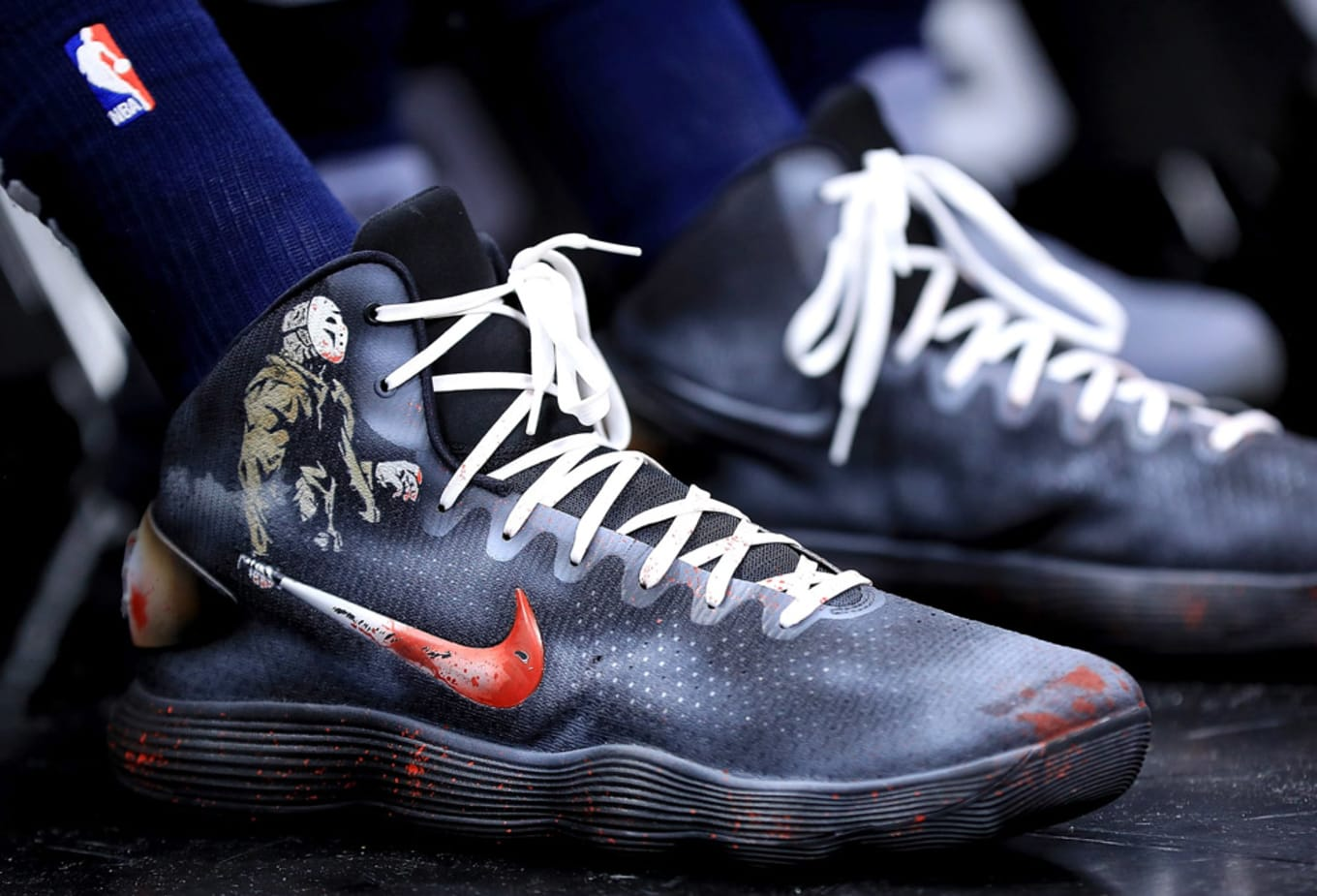 79090d12db6 Karl Anthony Towns Custom Jason Nike Sneakers Halloween