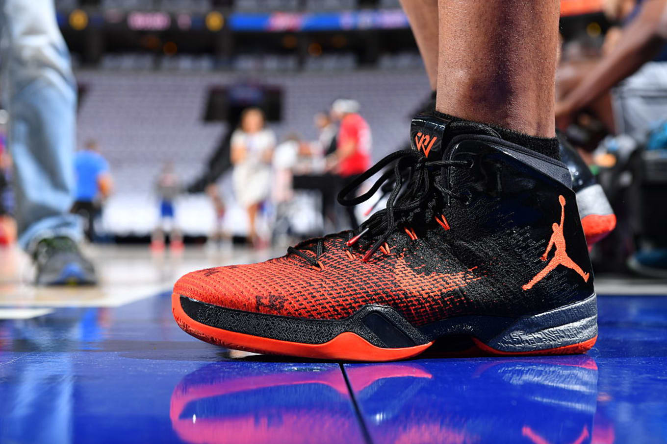 4b69392646d Russell Westbrook Wears Modified Black/Orange Air Jordan 31 PE ...