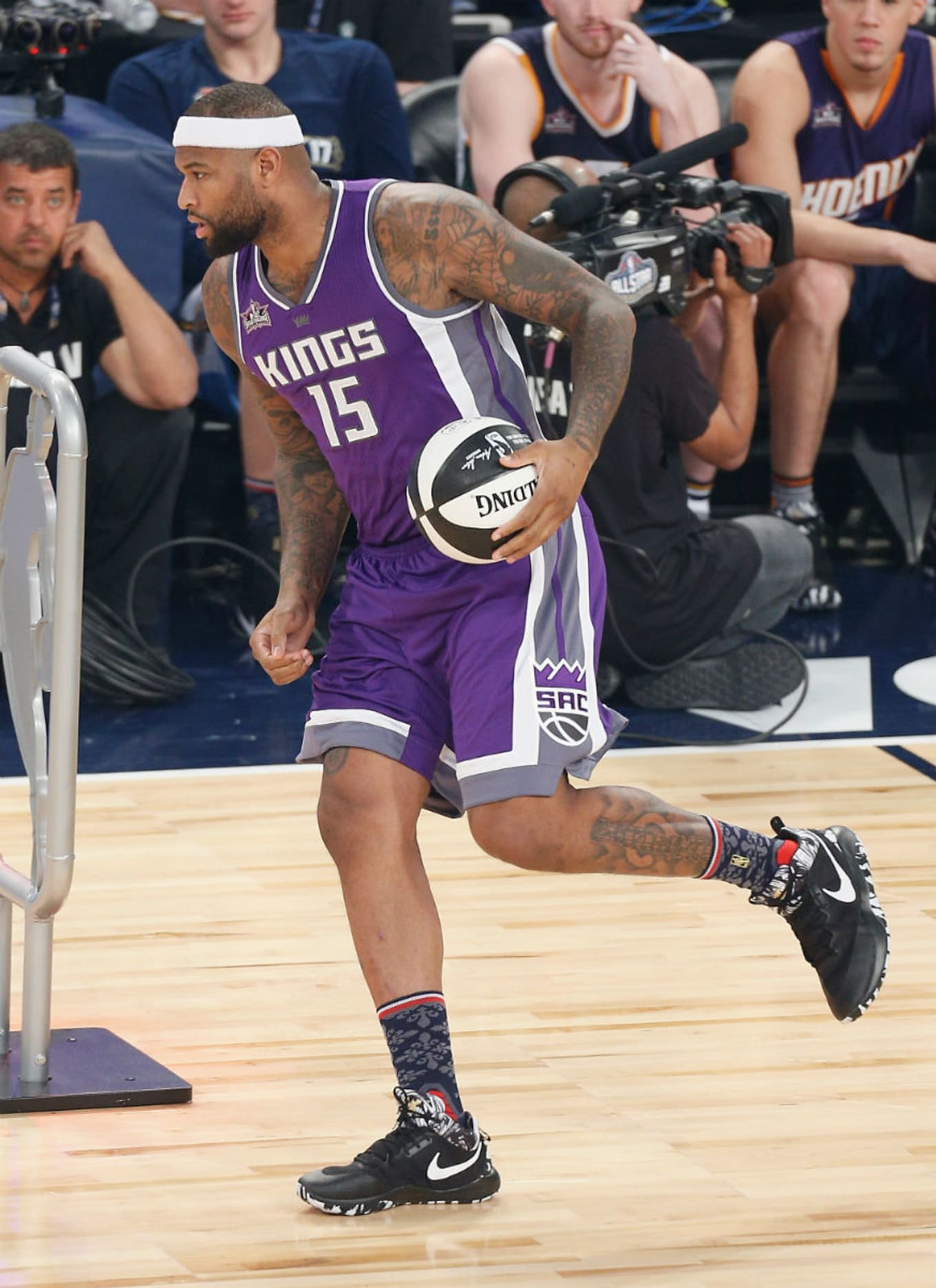 9986f3cccb42 DeMarcus Cousins. Image via Jonathan Bachman for Getty Images. Shoe  Nike  Zoom Rev 2017
