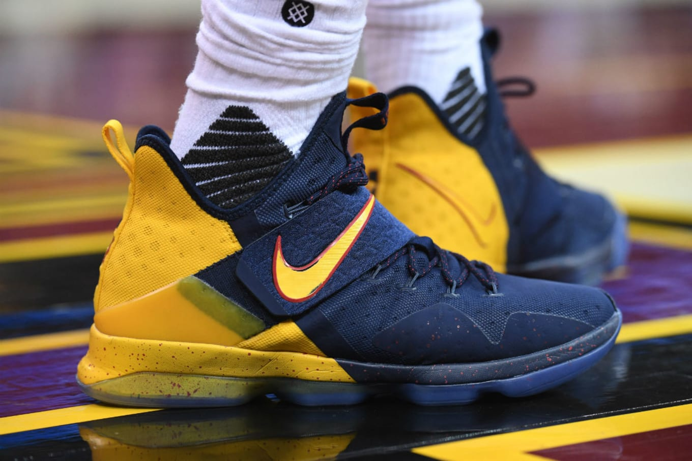 online store 2d0d1 fb3c7 LeBron James Nike LeBron 14 Navy/Yellow PE | Sole Collector