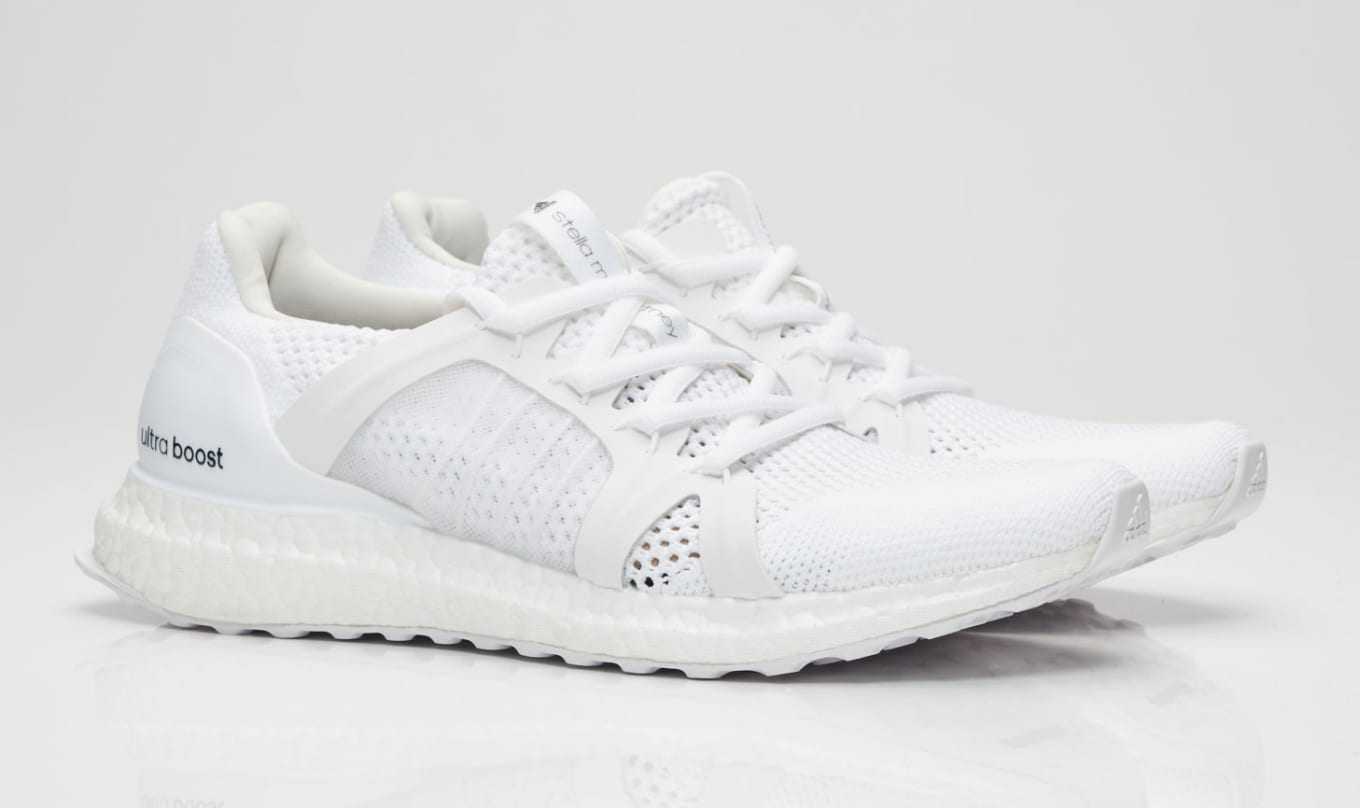 2183d570a225f Adidas Releases  Triple White  Ultra Boost Collab. Stella McCartney s model  picks up on the colorway.