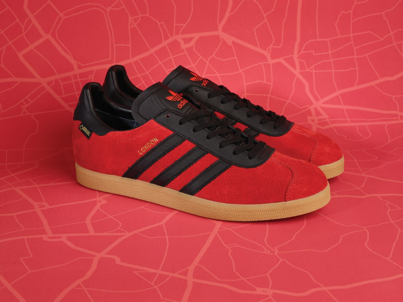 brand new 2b07b 9f6f3 The Gazelle GTX gets donned in red suede and black leather.