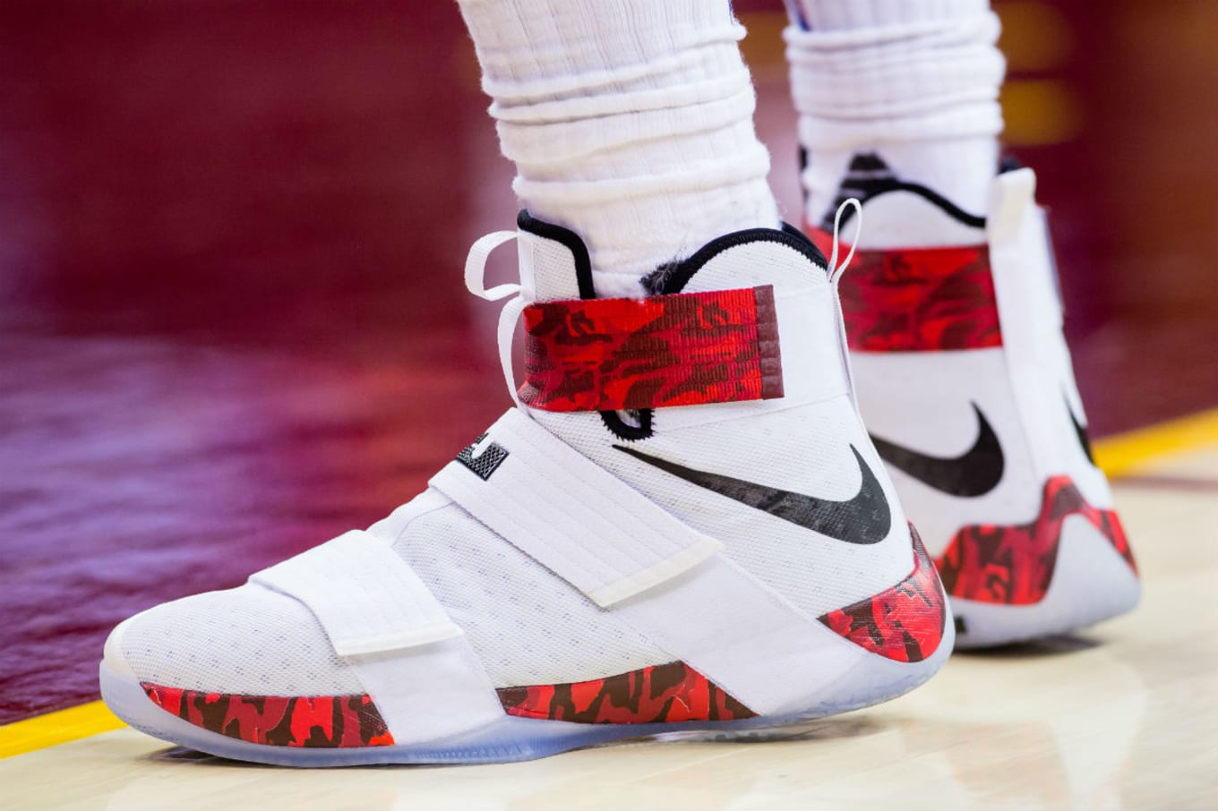 293df3671d88 LeBron James Nike LeBron Soldier 10 White Red Camo