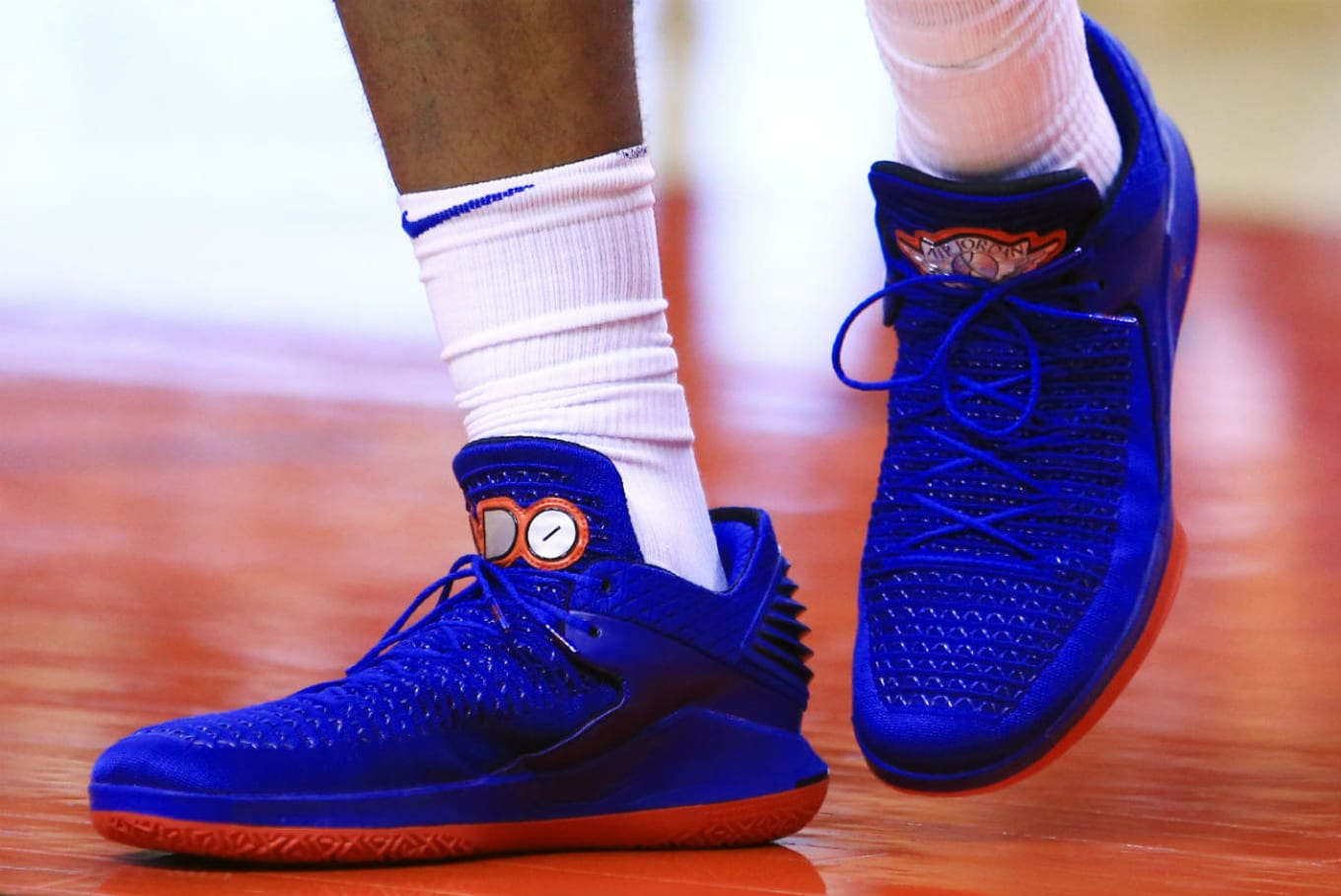 6c9b2f8fbf8 ... Andre Drummond Goes Low with Air Jordan 32 PE. Pistons colors on the  big man's exclusives.