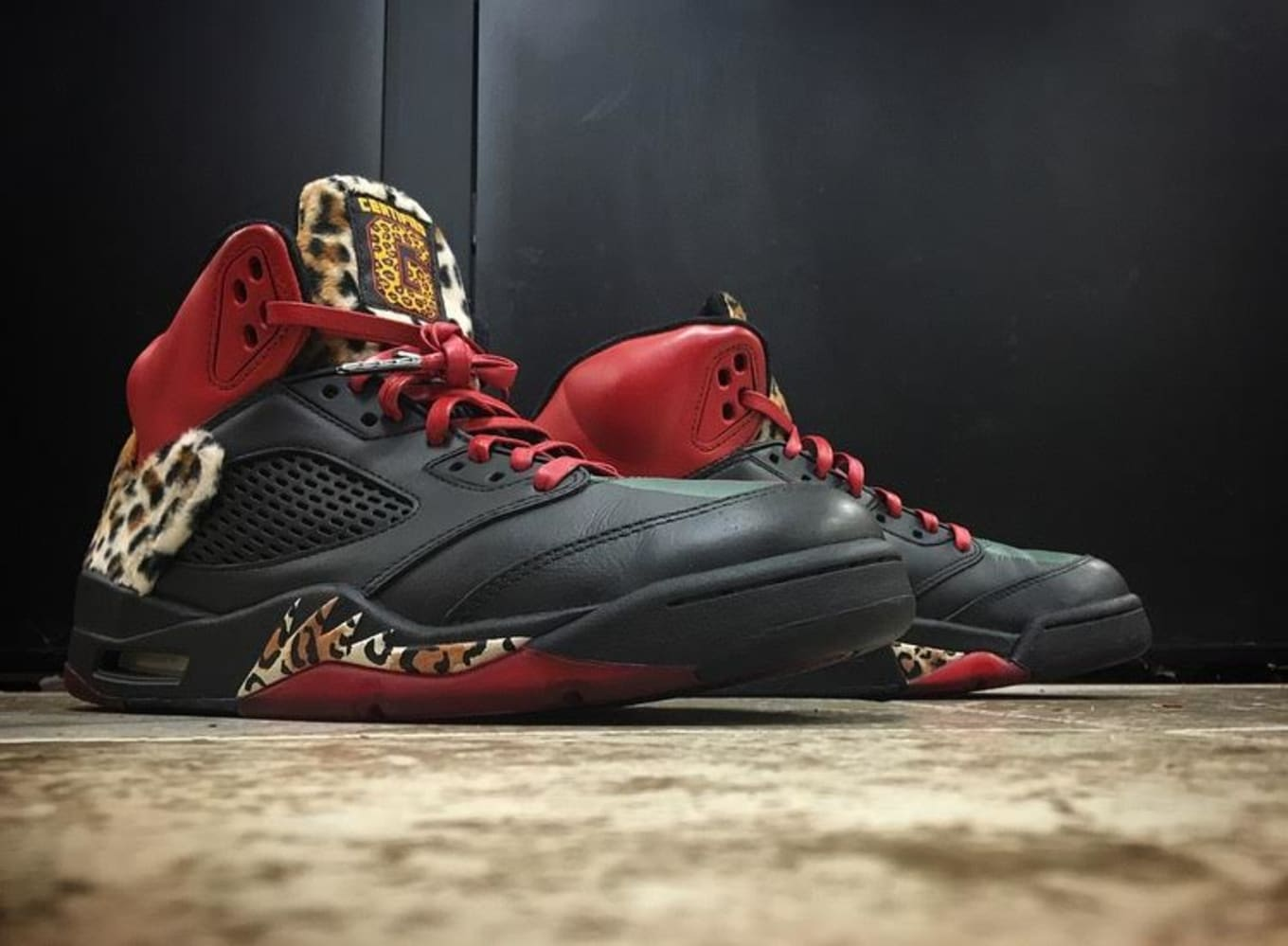 best sneakers 4a754 82a4f Enzo Amore Rocked Certified Custom Air Jordans on Raw Tonight. Mache and  Big A team up for leopard-laden custom.