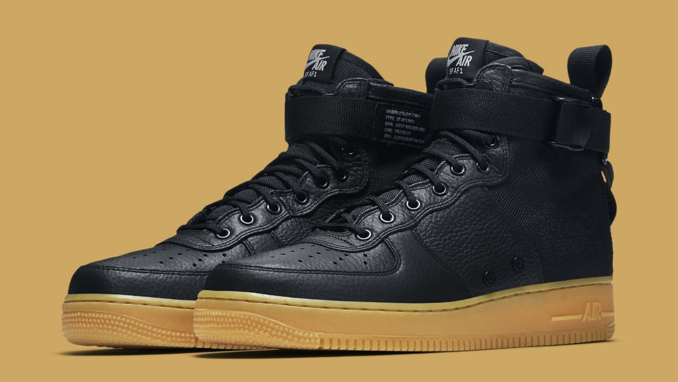 13d05122603196 Nike SF Air Force 1 Mid Black Gum Release Date Main 917753-003 ...