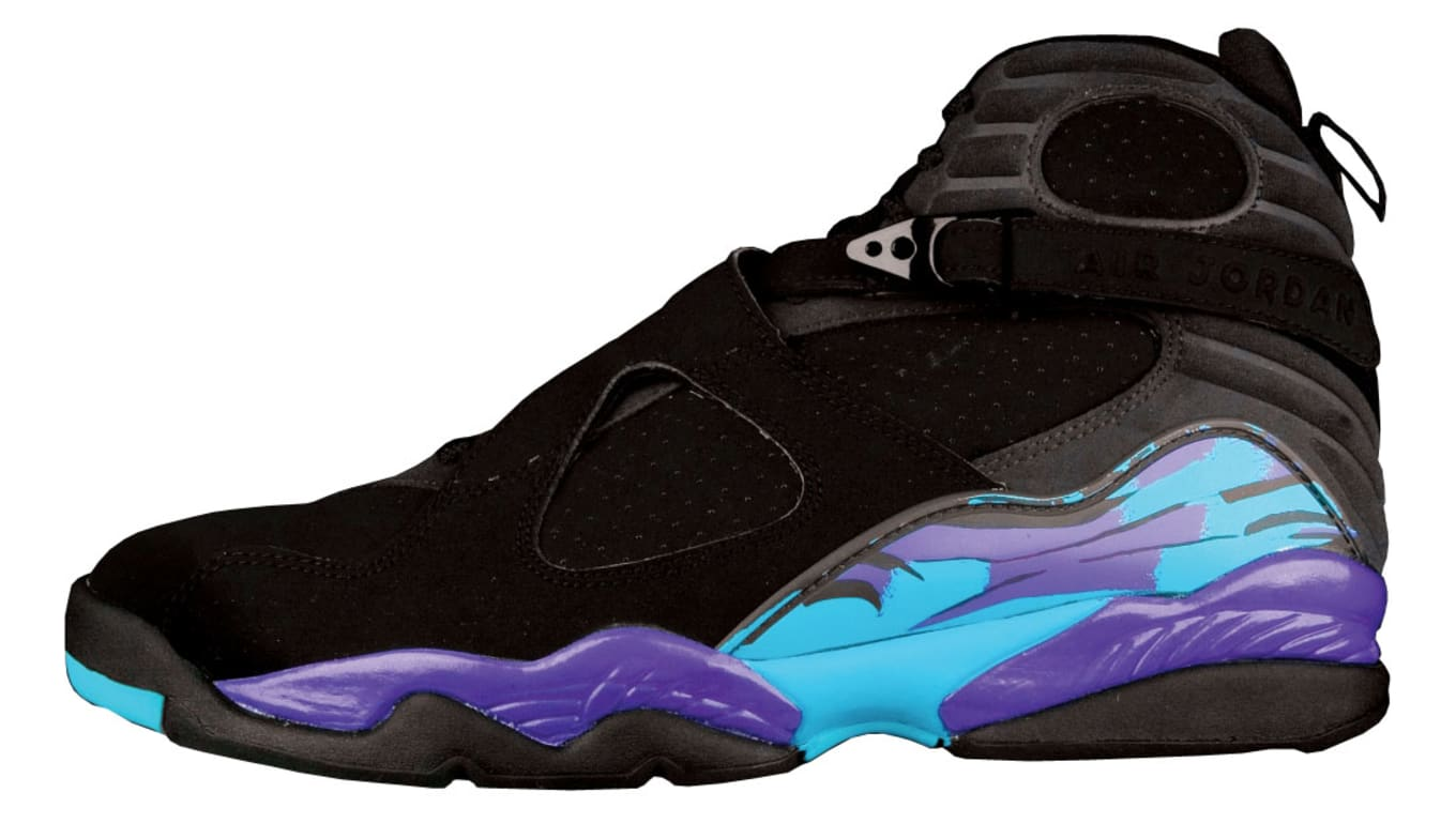 "new concept 45fb7 2b44e As finding original pairs in wearable condition became increasingly  difficult, the ""Aqua"" Air Jordan 8 was re-released for the first time in  2007."