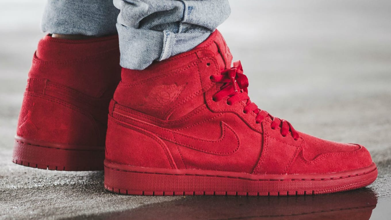 98e495c132f8 Check Out the  Red Suede  Air Jordan 1 On-Foot