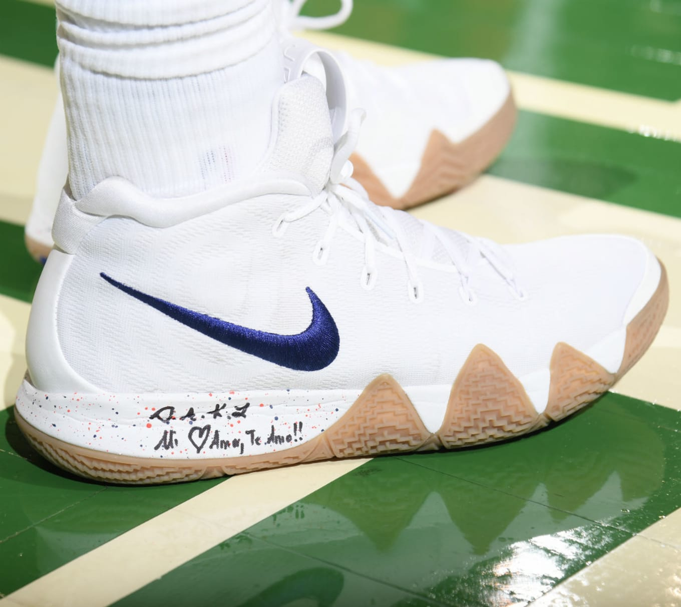 SoleWatch  Gum Buttoms On These Nike Kyrie 4s.   24b7a0bf0c4